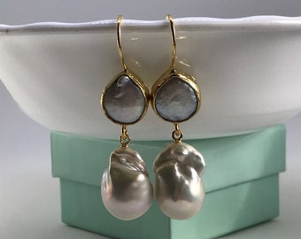 Baroque Pearl Earrings; Large Baroque; Baroque Pearls Hook Dangling Earrings - Gold; Baroque Pearl Jewelry; Wedding Earring