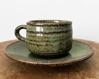 Vintage, Olive-Green, Cup, Saucer, Set, Tea-Cup, Coffee-Cup, Pottery