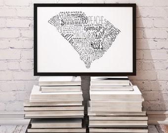 State of South Carolina Typography Print; Wall Decor; Christmas Gift; Wall Art; Wedding Anniversary Engagement Graduation Gift Decor