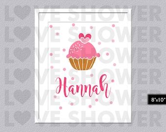 Pink Cupcake Poster Name Wall Art - Custom Wall Art Children - Personalized - Nursery Room - Digital Printable - PDF - LS323