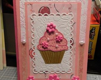 Pink and White Cupcake