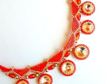 Rivoli Crystal Beadwoven Necklace Orange Tangerine Tango Unique Beaded Beadwork Beadweaving Jewelry