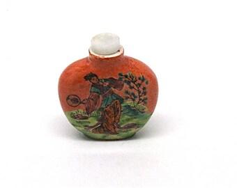 Vintage Asian Snuff Bottle, Scent Jar, Perfume, Dauber, Ceramic, Scenic with Dancing Geisha, Mid Century, Souvenir, c1960's
