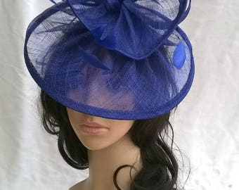 Sapphire Fascinator ..Sinamay and  feather Fascinator...Gemma