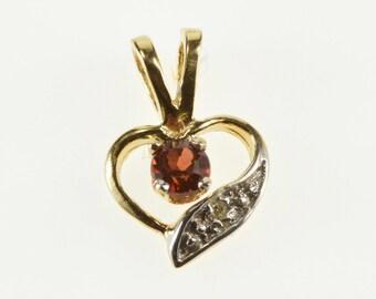 14K Garnet Diamond Inset Wavy Curvy Heart Pendant Yellow Gold