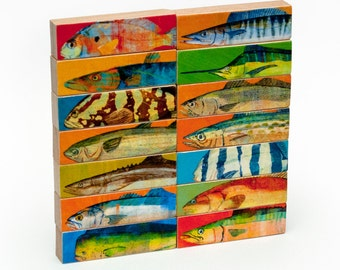 Saltwater Fishing Gifts for Men- Whole Mess of Fish Sticks Saltwater Fish Art
