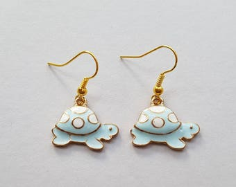 Blue Tortoise Earrings in Gold, Turtle Earrings, Gold Earrings, Animal Earrings, Choose Gold Plated, Surgical Steel or Gold Filled Wires