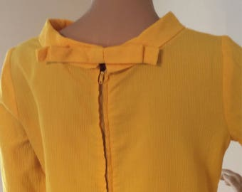 Marigold Yellow Long Sleeve Sheath, tunic Mini Dress with Bow detailing at Neckline and Sleeves