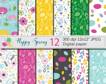 "Seamless Bright Spring Digital Paper, ""Happy Spring"" Hand Drawn Flowers, leaves and foliage Seamless Pattern, Floral Scrapbook Papers"