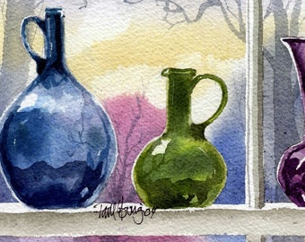 Window Bottles-Print from an original watercolor painting