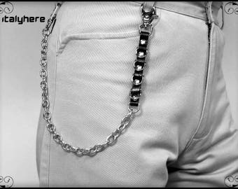 Chain for pants, leather + D rings, 50 cm.