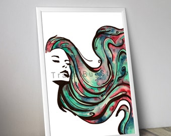 Woman with multicolor hair - Digital Printable print