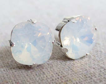 Swarovski Crystal Statement Post Earrings, White Opal Cushion Square, Silver, Bridal Jewelry, Bridesmaids Gifts, Gift for Her