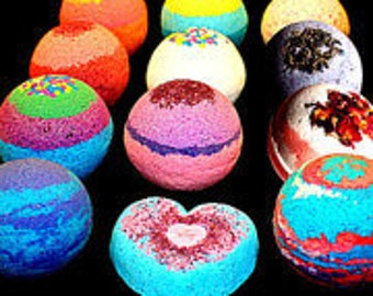 4 pack BATH BOMBS - Handmade FIZZIES - 4.5 oz - Giftset - Mix and Match - Assorted Scents