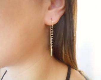 Gold Threader Earrings, Gold Chain Earrings, Simple Gold Earrings, Pair Of 14K Gold Filled Earrings, Minimal Gold Dangling Earrings,