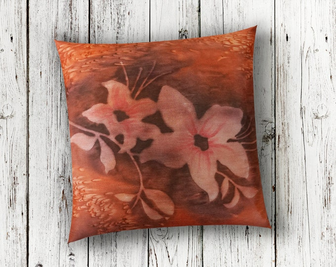 Burnt Orange Pillow 18x18-Watercolor Silk Pillow-Rust Pillow-Floral Pillow-Lodge Decor-Cottage Pillow-Boho Decor-Watercolor Home Decor