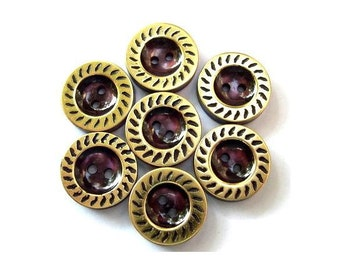 7 Vintage buttons plastic purple with gold color circle 17mm