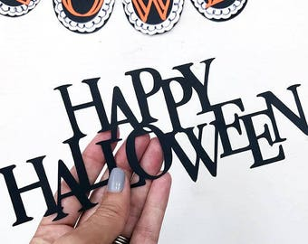 Happy Halloween Multi-Layered Design SVG Cut File with Draw Lines Included designed by Jen Goode