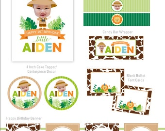 DIGITAL FILES Safari Party Decorations, Zoo Party Decorations, Safari Birthday, Jungle Party Collection, Party Kit, Party Printables