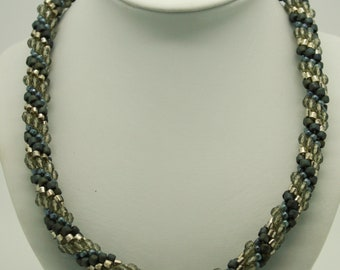 Handmade Blue and Sterling Silver Bead Crochet Necklace