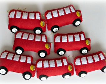 London Red Bus Garland - SIX BUSES