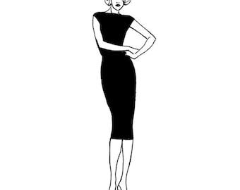 PDF Sewing Pattern for Women - Marilyn's LBD Sheath dress in knit or jersey (Set 2 - sizes C,D,E,F)