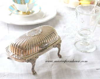 Ornate, Silver Plated, Footed, Butter Dish Dome with Glass Insert, Tea Party, Victorian Style, Movie Set Staging, Wedding Table Decor