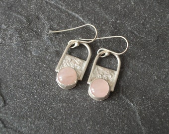 Rose Quartz and Sterling Silver Earrings, Sterling Silver Earrings, Reticulated Silver Earrings