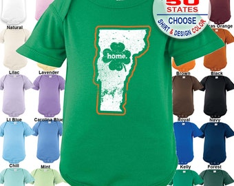 Vermont Home State Irish Shamrock Bodysuit - Boys / Girls / Irish / St. Patty's Day