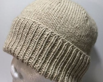 Hand Knitted Merino Alpaca Blend Single Rib Classic Knit Beanie