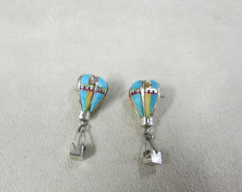 Sterling Silver Inlay Hot Air Balloon Post Dangle Earrings