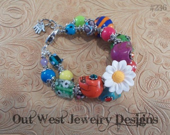 Chunky Day of the Dead Bracelet with Howlite Turquoise Sugar Skulls and Lampwork No. 236