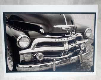 photo card, 1954 Chevy truck, black and white photography