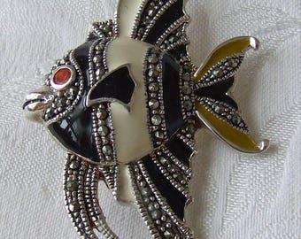 Stunning Silver, Marcasite and Enamel Angel Fish Brooch Pin