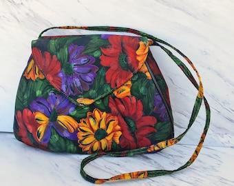 Vintage Flower Clutch. Indie 1980s Floral Handbag. Vibrant Flower Evening Bag. Crossbag. Polka Dot on Floral. Summer Purse. Tropical Daisy.