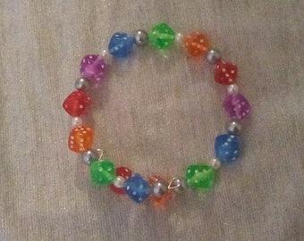 Rainbow Dice Beaded Wraparound Bracelet with Plastic Black and White Pearls