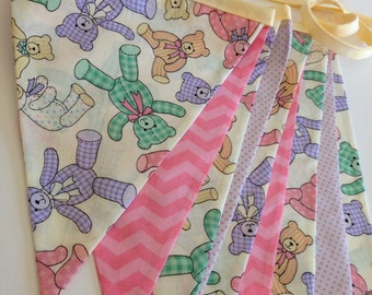 TEDDY BEAR NURSERY Banner Flags--Pink Green Purple Yellow Teddy Bears--Baby Room Decoration--New Baby Banner--Baby Garland--Baby Shower