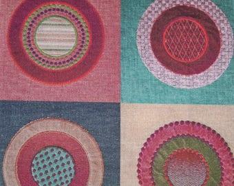 LEE JOFA KRAVET Boho Circles Quads Embroidered Linen Fabric 10 Yards Red Multi