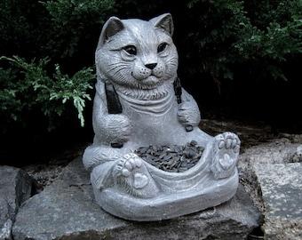 Cat Statue Contemporary Blue Painted Feline Cement Concrete