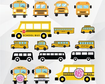School bus svg/School bus monogram svg/School bus clipart for Print,Design,Silhouette,Cricut and any more