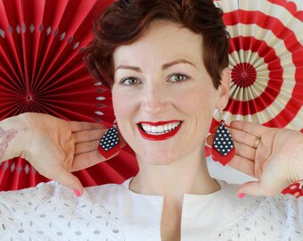 Red and Blue with White Polka Dots Leather earrings - Patriotic Earrings - 4th of July Earrings - Red with Polka Dots on Blue Earrings