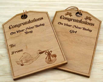 Personalised New Baby Gift Tags, Wooden Gift Tag, New Baby, Baby Boy, Baby Girl, Personalised Gift, New Baby Gift, Gift Wrap Accessories