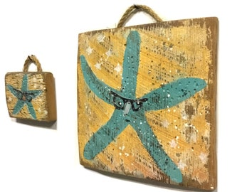 Starfish and Baby OOAK-Adopt This Original Art Item-Beach Decor Handmade on Reclaimed Wood- Beach Home Goods Coastal Art Starfish  Mangoseed