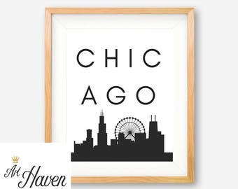 Chicago PRINTABLE, Chicago Poster, Chicago Wall Art, City Print, Chicago Skyline, Black and White Poster, Black and White Art, City Wall Art