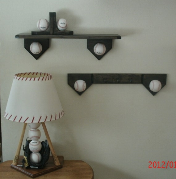 Baseball Bedroom Collection Includes Lamp Shelf Coat Hook Bookends