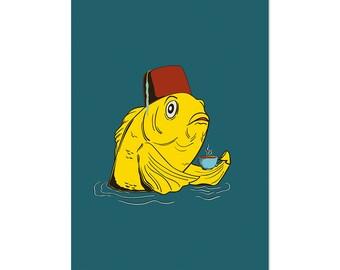 Fez Fish with a Tea Cup, art print 5x7 Animal Art, illustration, home decor, wall art, surreal, whimsical, fantasy, postcard