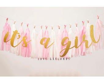 It's a Girl Gold Glitter Script Garland, It's a Girl Gold Glitter Garland, It's a Girl Script Garland, Baby Girl Baby Shower Garland