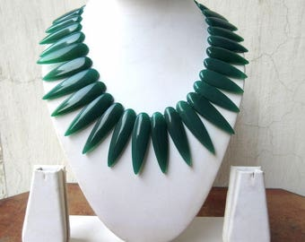 Natural Green Onyx Layout Necklace, Bib Necklace, Cleopatra Necklace, Graduated Collar Necklace, 34x11mm To 50x13mm, 17 Inch, GDS978