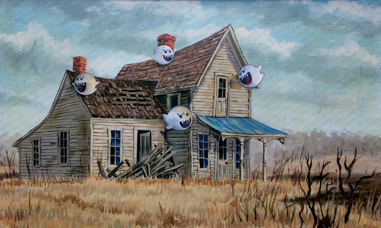Super mario brothers parody boo painting print poster zoom fandeluxe Images