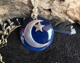 Blue Agate Crescent Moon and Star Pendant